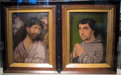 Diptych of monk and memento mori