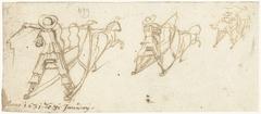 Drie studies van een slede met een paard ervoor