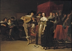Elegant company playing music in an interior