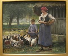 Farm Girl Feeding Chickens