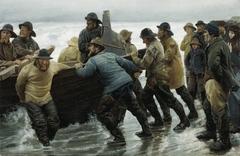 Fishermen launching a rowing boat