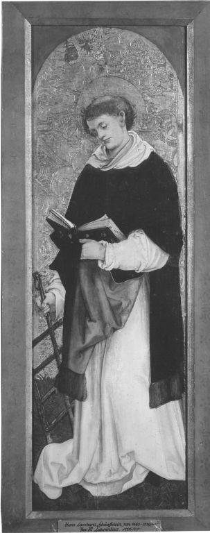 Flügel eines Diakonsaltares: Hl. Laurentius Rückseite: hl. Vincentius von Valencia