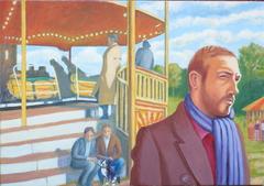 'Funfair, Hampstead Heath, 1970s' (2012), Oil on linen, 70 x 100 cm