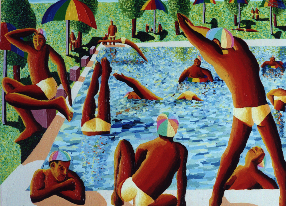 gay art paintings men swimming on the pool queer artworks paintings lgbt painter raphael perez