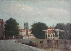 Gezicht op de Leuvehaven en de Leuvebrug
