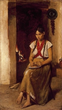Girl in front of a Stove
