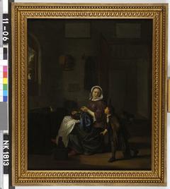 Interieur met naaiende vrouw en een kind