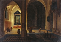 Interior of a Cathedral by Night