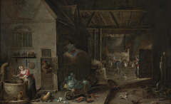 Interior of a Farmhouse with Figures and Animals