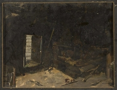 Interior of a peasant cottage, sketch