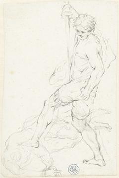 Krijger staand met linkervoet op tegenstander (David en Goliath?)