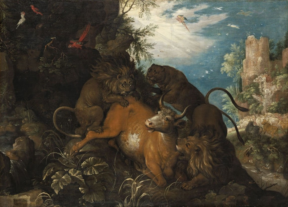 Landscape with Lions Attacking a Cow
