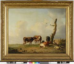 Landschap met herder en vee bij een boom