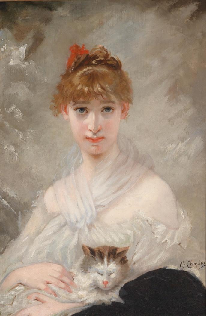 Mädchen mit weißem Tuch und Katze im Arm
