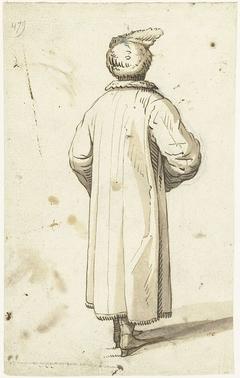 Mannenfiguur met een muts en jas, van achteren gezien