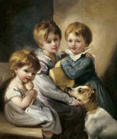 Mary Elizabeth Elton (1816-1840),  Jane Octavia Elton, later Mrs William Brookfield (1821-1896) and Arthur Hallam Elton later Sir Arthur Hallam Elton, 7th Bt MP (1818-1883) with their dog 'Rob Roy'