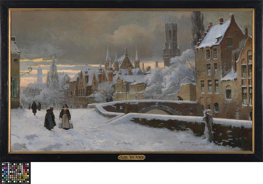 Meebrug in Brugge onder de sneeuw