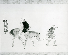 Monk Renshō Riding His Horse Backwards