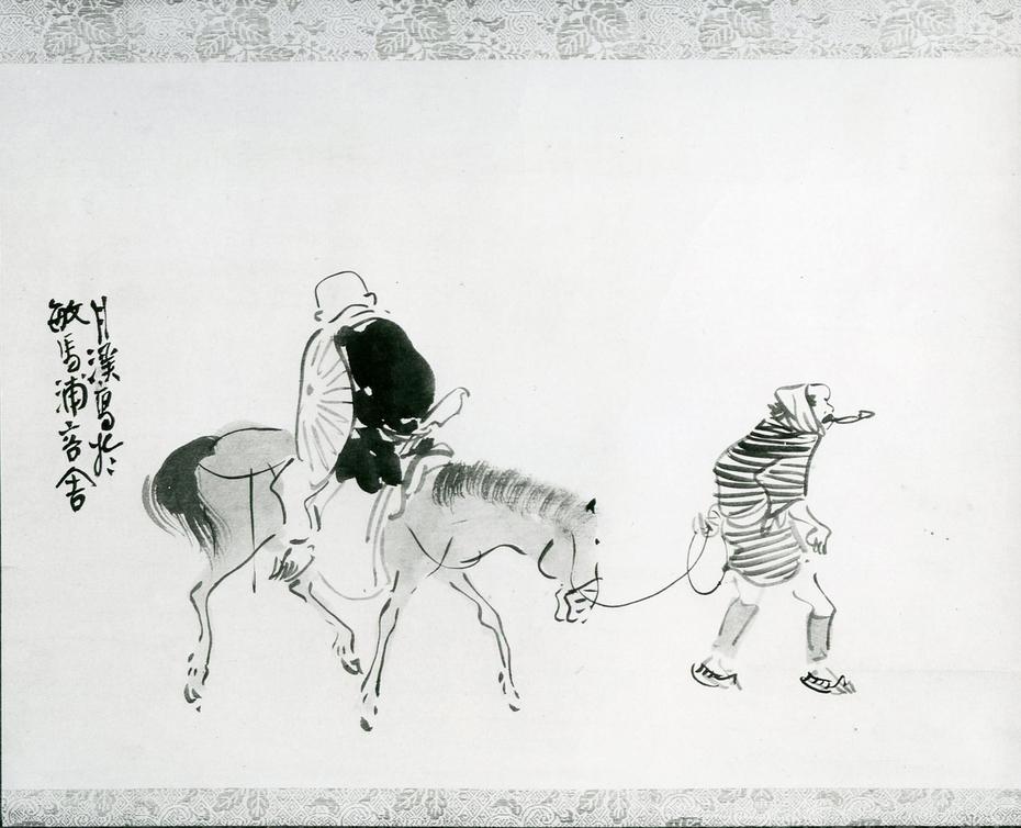 Monk Renshō Riding His Horse Backwards