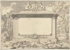 Monument met attributen van Amsterdam, de koopvaart en de kunsten