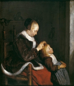 Mother Delousing her Child's Hair