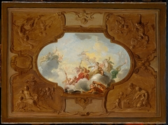 Ontwerp voor een plafondstuk met de apotheose van Aeneas. In de hoeken de vier jaargetijden in brunaille