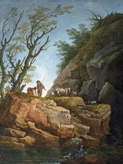 Paysage aux grands rochers - Hubert Robert