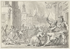Plundering en moord op de smid Huibert Willemszoon van de Eijcken door Spaanse troepen te Naarden, 30 november 1572