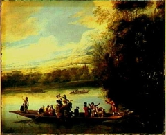 River Landscape with Hunters on a Ferry