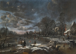 Skaters and Kolf Players on a Frozen River bordering a Village
