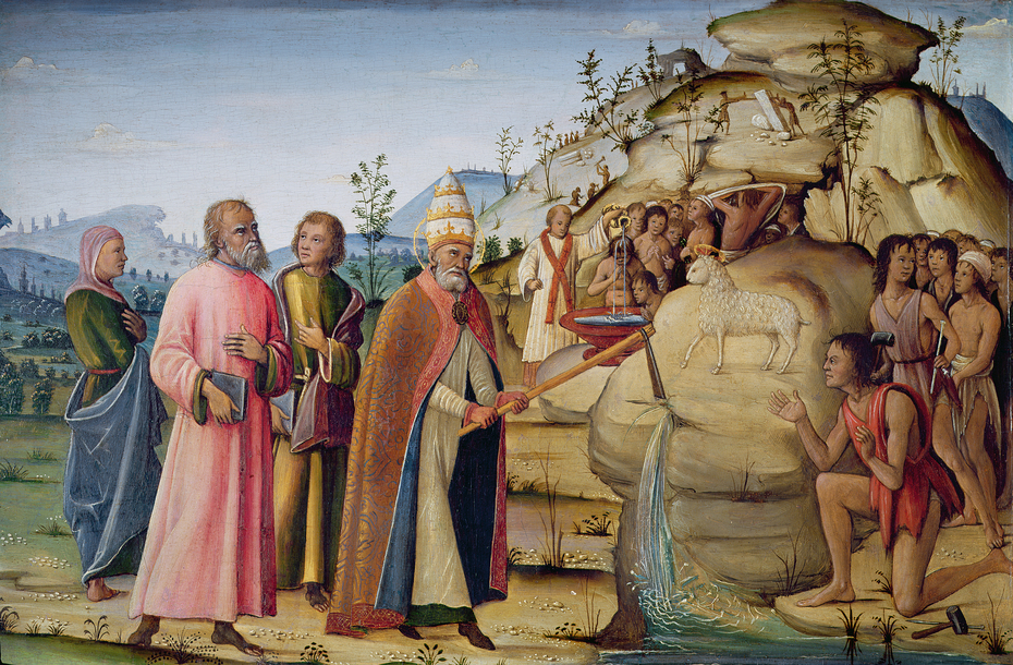 St Clement striking the Rock