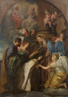 St Theresa receiving a gold chain and a mantle embroidered with gold from the Virgin