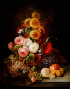 Still Life of Mixed Flowers in a Vase, with Fruit, Insects and a Bird's Nest with Eggs