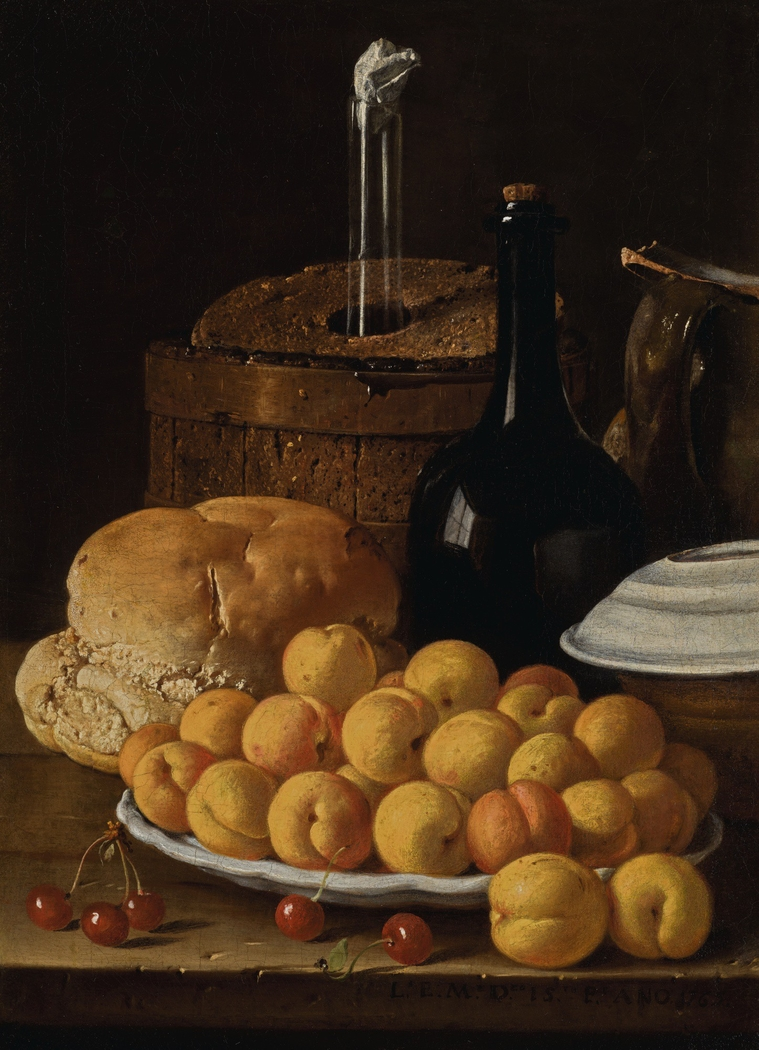 Still life with a plate of apricots, cherries, bread, a wine cooler and receptacles