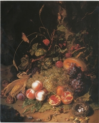Still-life with fruit, a nest and a lizard