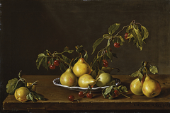 Still Life with Plate of Pears and Morello Cherries