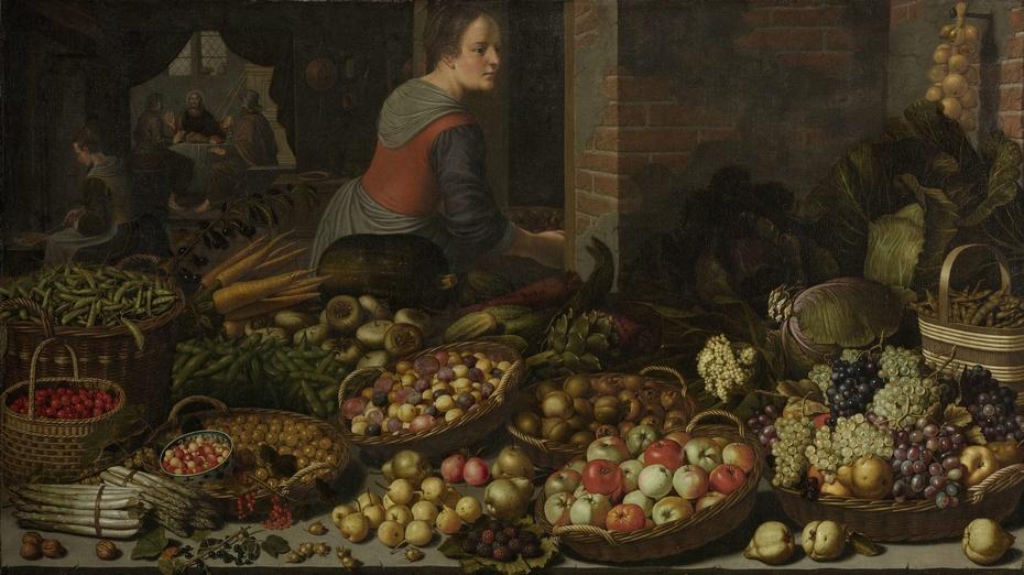 Stilleven met vruchten en groenten met op de achtergrond Christus en de Emmaüsgangers