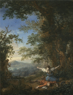 Thisbe committing suicide on the body of Pyramus