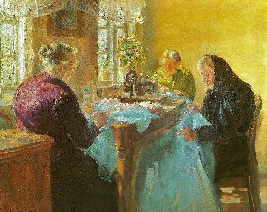 Three old women sewing a blue dress for a fancy dress ball