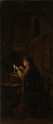 Triptych with an Allegory of Art Education, right panel, Schoolmaster Mending his Pen