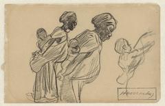 Twee Afrikaanse vrouwen met hun kinderen op de rug