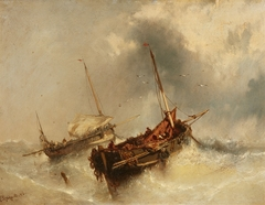 Two boats on the Stormy Sea