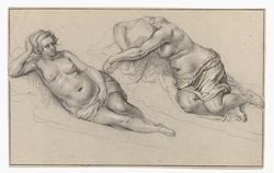 Two studies of a nude woman
