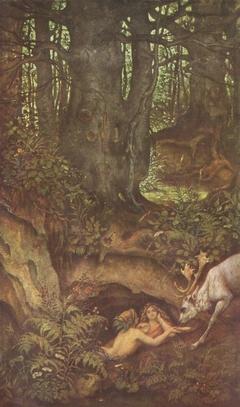 Nixen, einen Hirsch tränkend