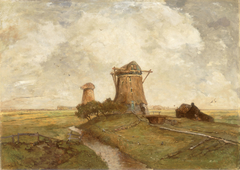 Two Windmills between Abcoude and Ouderkerk on the Amstel