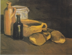 Still life with earthenware and wooden shoes