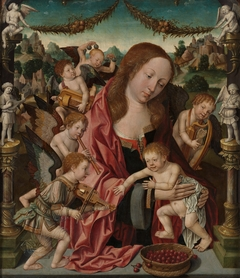 Virgin and child with angel musicians
