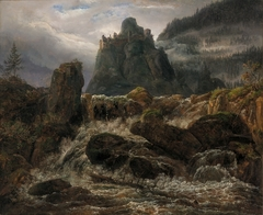 Waterfall with a Castle Ruin