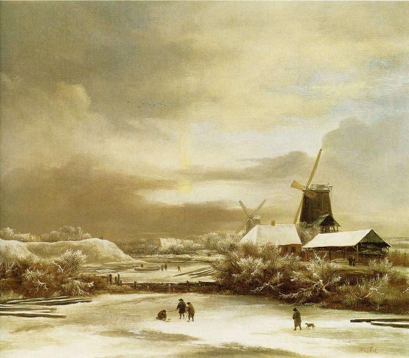 Winter Landscape with Two Windmills