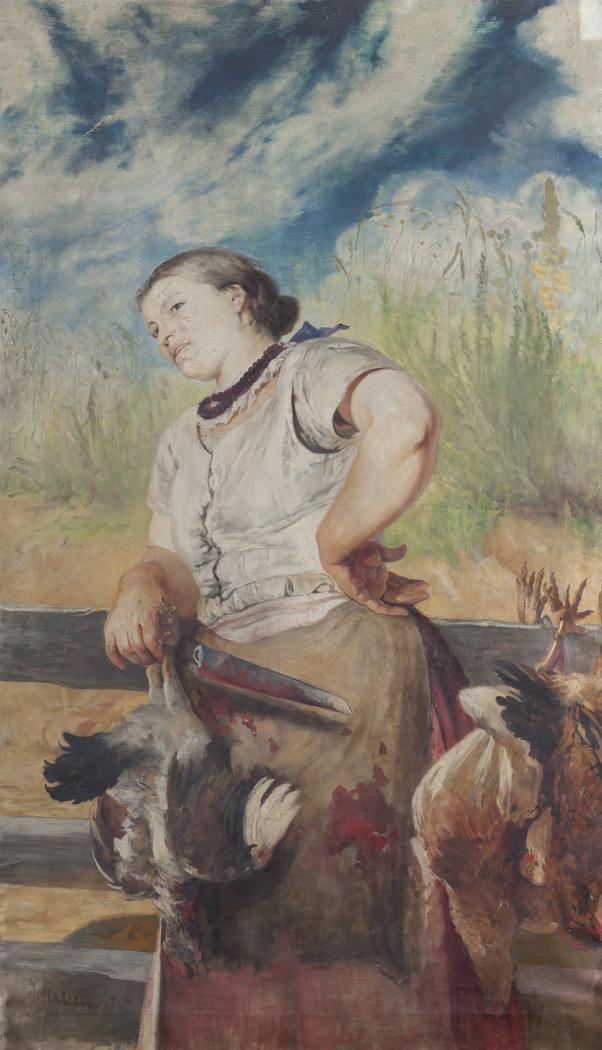 Woman Slaughtering Hens